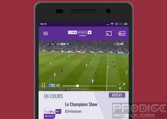Application live de la chaine sportive beIN Sports
