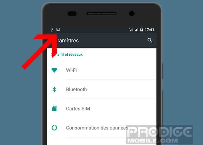 Icône de notification qui s'affiche lors d'une capture d'écran