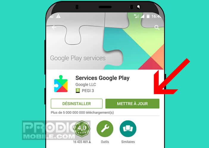 Installer les mises à jour disponibles pour l'appli Google Play Services
