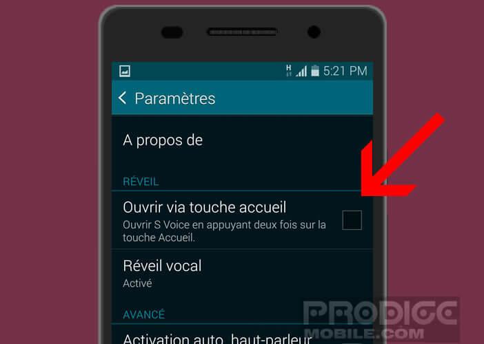 Désactiver la fonction permettant de lancer S Voice depuis la touche d'accueil du mobile