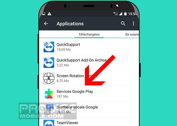 Lancer le gestionnaire d'applications dans les paramètres d'Android