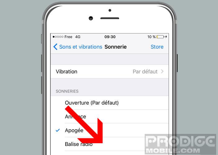 Définir le nouveau son des notifications créé avec GarageBand