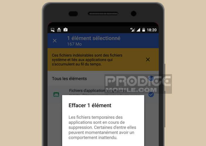 Supprimer les fichiers temporaires dans la mémoire d'Android