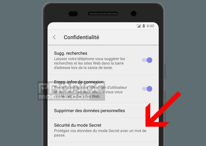 Accroitre la sécurité du mode de navigation privée sur Android