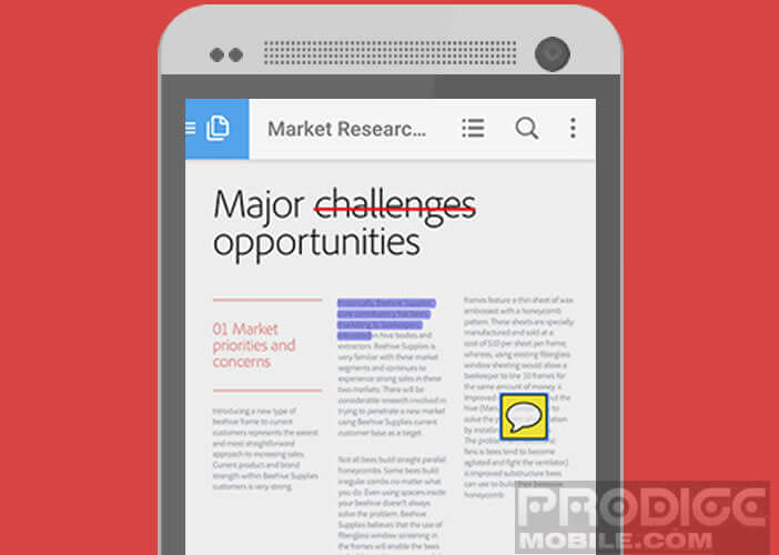 Adobe Reader, éditeur de documents PDF pour mobile