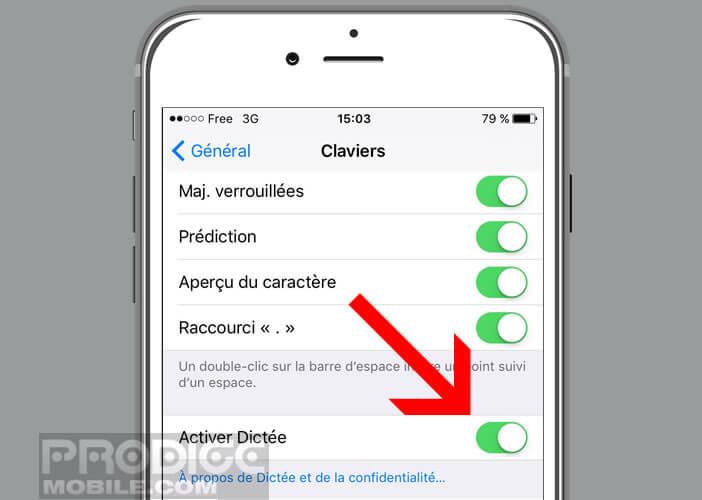Désactiver la fonction de dictée vocale de l'iPhone