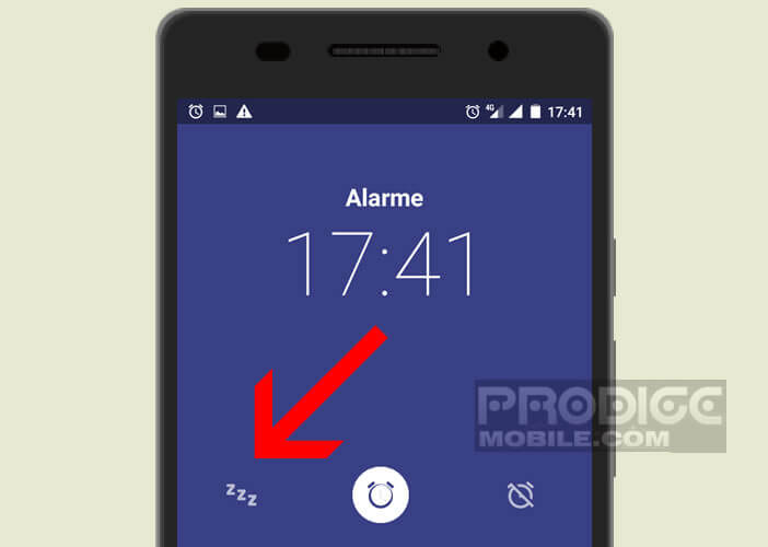 La manipulation pour activer la fonction snooze sur l'écran de son portable