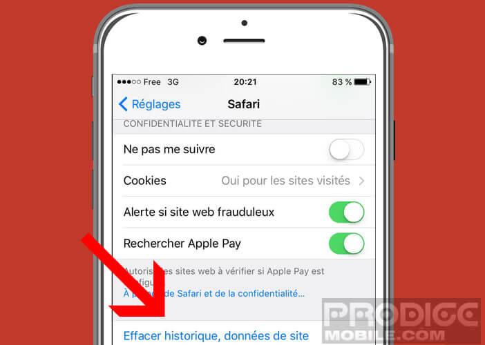 Supprimer les cookies et les données contenues dans le cache du navigateur Safari