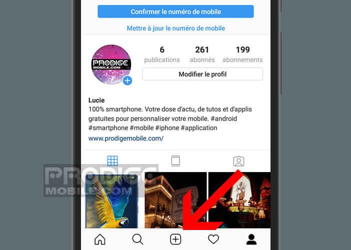 Créé une nouvelle publication sur Instagram