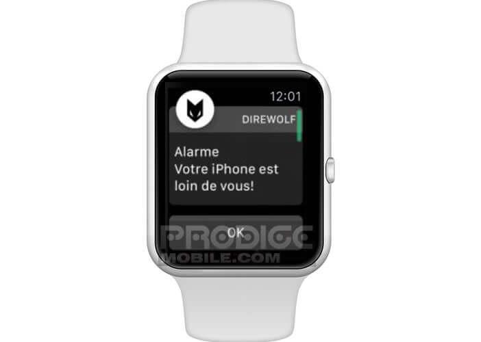 En cas de vol ou de perte Direwolf envoie une alerte sur votre montre connectée Apple