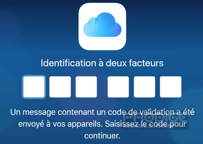 Rentrer le code sur iCloud pour l'authentification double facteur