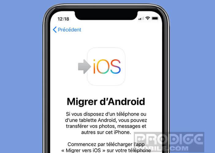 Lancer une migration de données d'Android vers iPhone