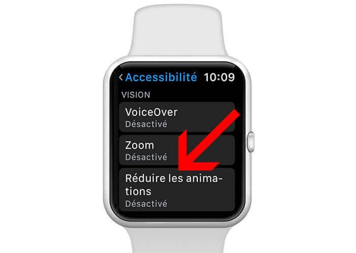 Réduire les animations de transition de la montre