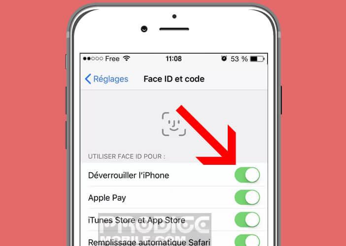 Désactiver temporairement le système de reconnaissance faciale de l'iPhone