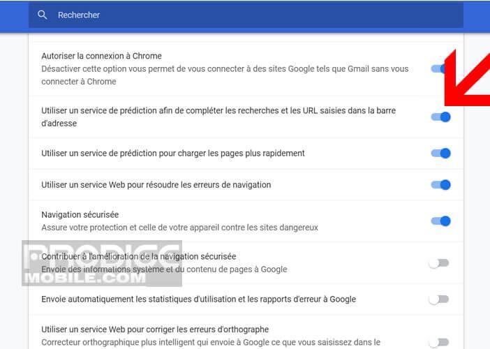 Désactiver le service de prédiction dans le navigateur de Google