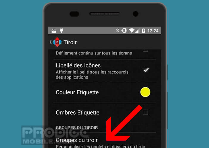 Activer l'option Groupe de tiroir de l'application Nova Launcher