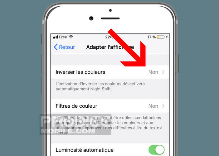 Assombrir l'interface de l'iPhone