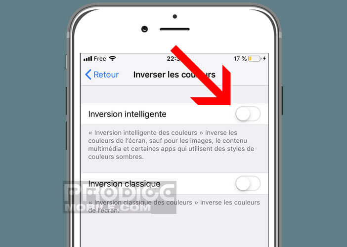 Le mode d'inversion intelligente de couleurs du téléphone Apple