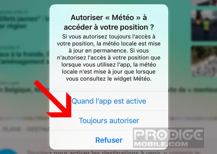 Autoriser le widget Météo à accéder à votre position GPS