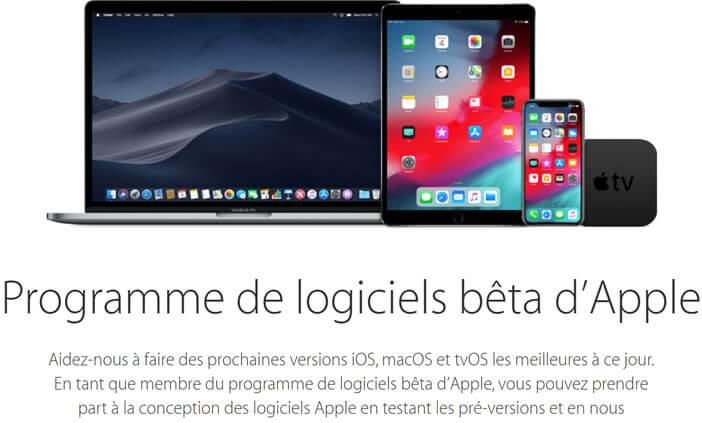 Adhérer au programme de logiciels bêta d'Apple