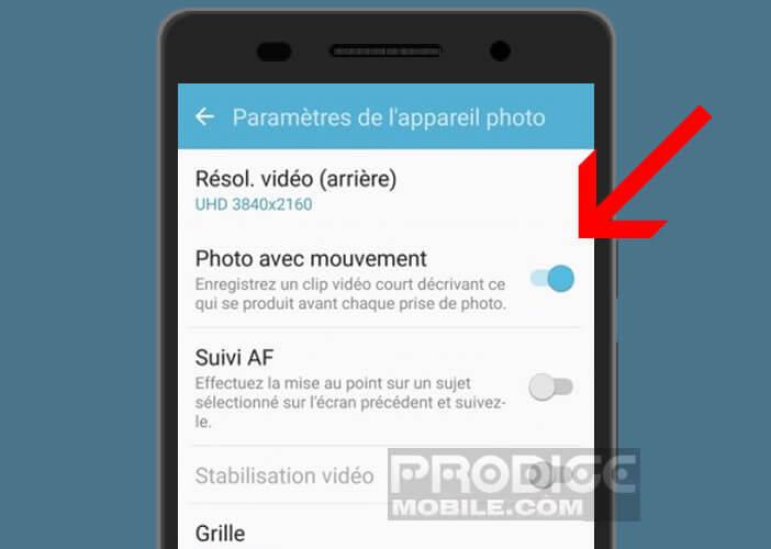 Activer l'option photo avec mouvement sur un smartphone Samsung Galaxy