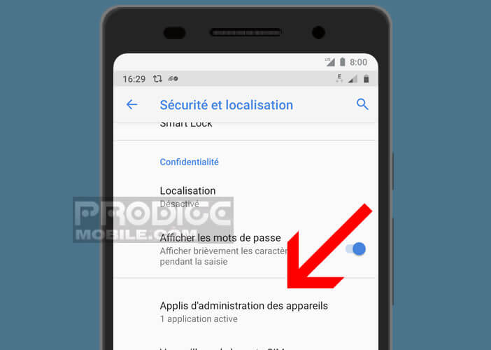 Lancer le menu administration d'Android