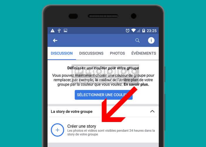 Ajouter une story à un groupe Facebook