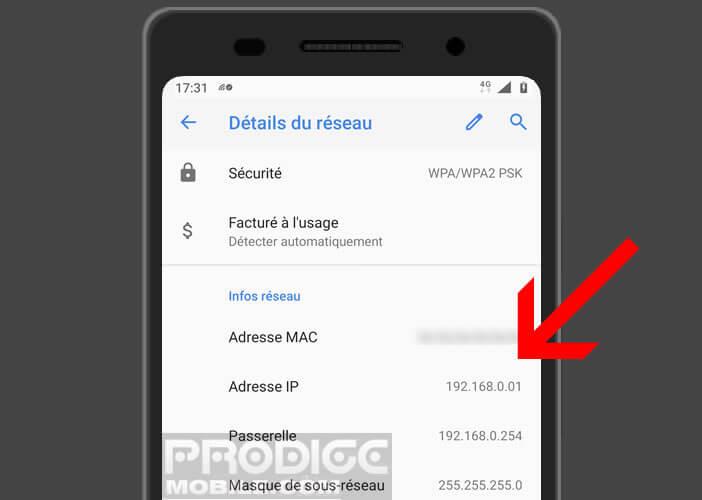 Retrouver l'adresse privée du routeur Wi-Fi générée par le serveur DHCP