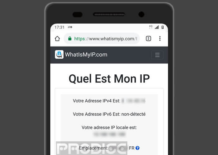 Connaitre l'adresse internet IP publique de son mobile et sa localisation