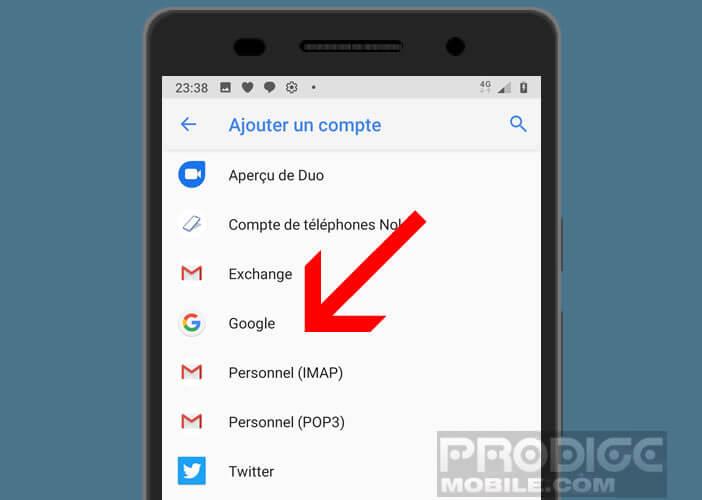 Sélectionnez le compte Personnel IMAP dans les paramètres Gmail