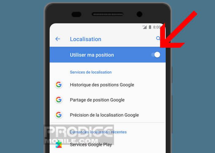 Activer position GPS pour localiser un smartphone perdu ou volé