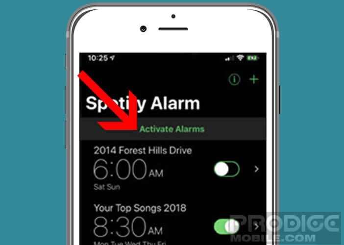 Activer une sonnerie de réveil Spotify sur son téléphone