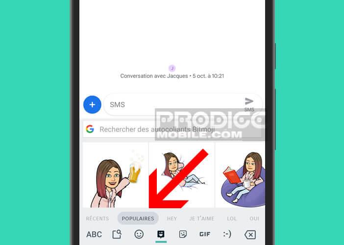 Sélectionner l'une des catégories de stickers pour le clavier Android