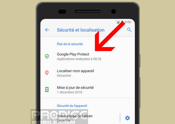 Lancer Google Play Protect sur un smartphone Android