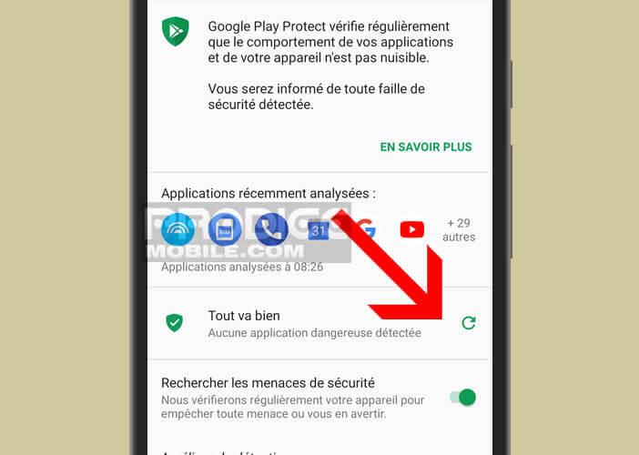 Lancer une analyse pour rechercher des malwares dans la mémoire d'un mobile