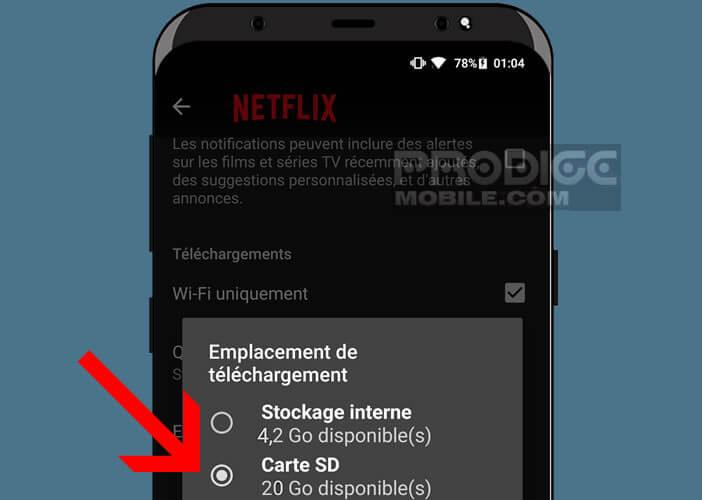 Modifier l'emplacement de stockage pour les téléchargements Netflix