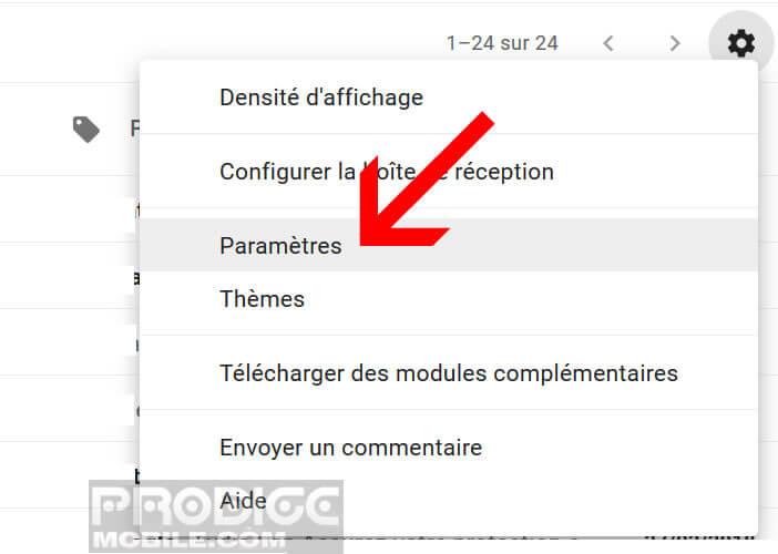 Modifier les paramètres de votre messagerie Gmail secondaire
