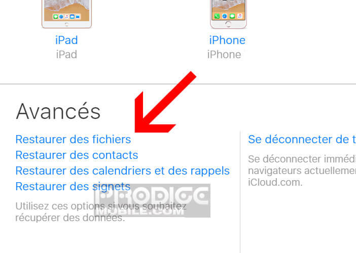 Restaurer des fichiers et des photos depuis le site iCloud