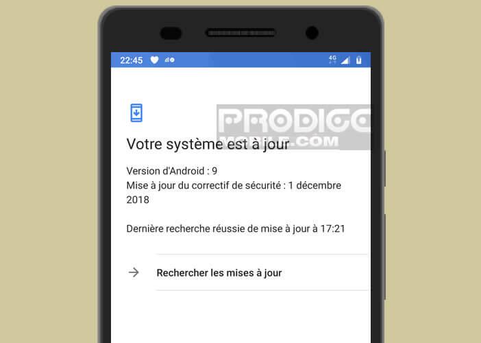 Vérifier régulièrement le système de mise à jour de votre Android