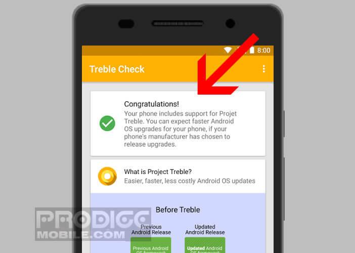 Application Treble Check pour mettre à niveau son Android