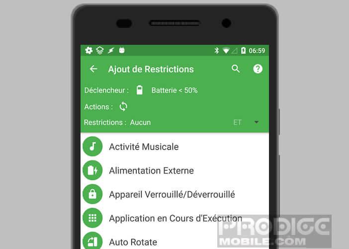 Ajouter des restrictions à votre macro pour smartphone Android