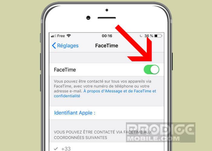Vérifier que l'application FaceTime a été correctement configurée