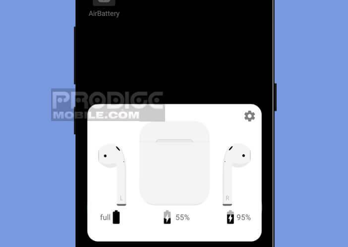 Niveau de charge des batteries des écouteurs AirPods