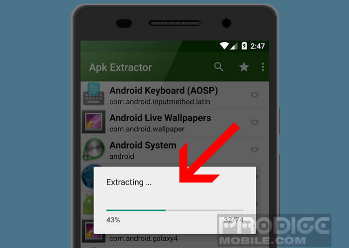 Extraction de l'application installée dans la mémoire interne de votre smartphone