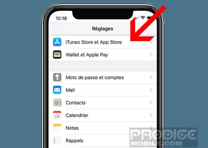 Ouvrez les paramètres d'options de l'iTunes Store