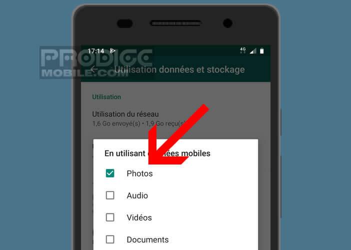 Arrêter le téléchargement de photos avec la connexion mobile 4G