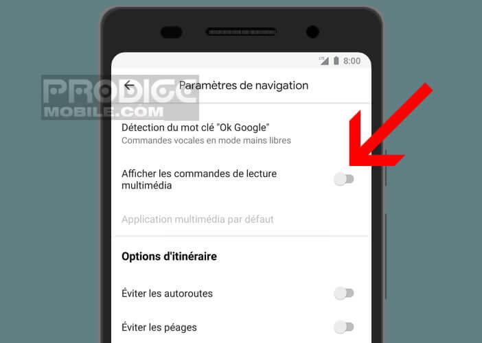 Activer l'affichage des commandes de lecture multimédia dans le logiciel de navigation