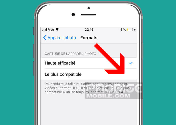 Forcer l'application photo à enregistrer les images au format JPG