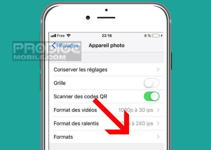 Modifier le format de l'appareil photo sur un smartphone Apple