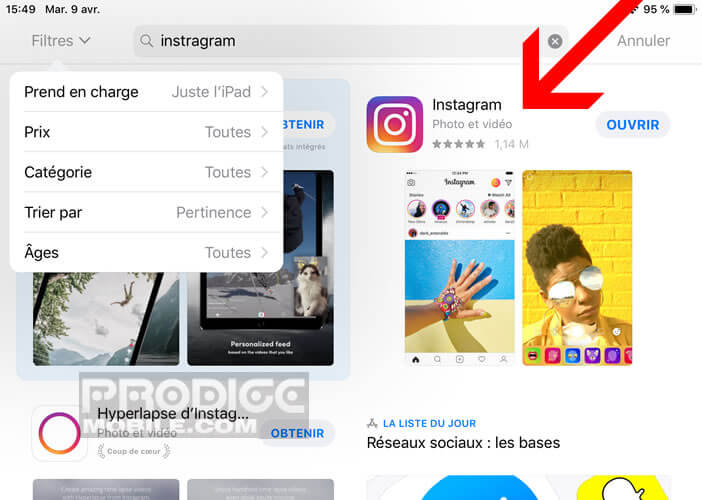 Afficher Instagram dans la boutique d'apps d'Apple